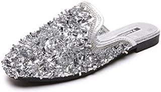 Cosplay-X Womens Glitter Rhinestone Mule Sandals Slides Backless Square Toe Flat Slip On Loafers