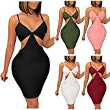 Women's Summer Bustier Halter Hollow Casual Dresses Sexy Backless Slim Package Hip Dress