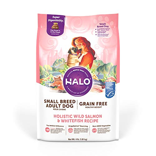 Halo Grain Free Natural Dry Dog Food - Small Breed Healthy Weight Recipe - Premium and Holistic Real Whole Meat - Wild Salmon & Whitefish - 4 Pound Bag - Non-GMO Adult Dog Food - Highly Digestible