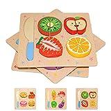 Puzzle in Legno per Bambini 3D Giocattoli Prescolare Educativo Giochi Set Blocchi Giocattoli Montessori Regalo per 1 Anno 2 3 4 Anni Ragazza Ragazzo, 3 Pezzi Frutta