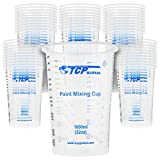 TCP Global 32 Ounce (1000ml) Disposable Flexible Clear Graduated Plastic Mixing Cups - Box of 50 Cups - Use for Paint, Resin, Epoxy, Art, Kitchen, Cooking, Baking - Measuring Ratios 2-1, 3-1, 4-1, ML