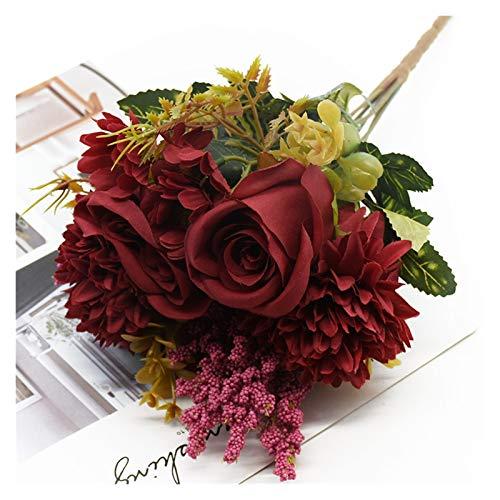 LEILEIMY Künstliche Blumen 1 Bündel 7 Gabeln Rose Chrysantheme Blumenstrauß Dekoration Zubehör DIY Hochzeit Künstliche Blumen Esstisch Zimmerpflanzen Pflanze (Color : 3)