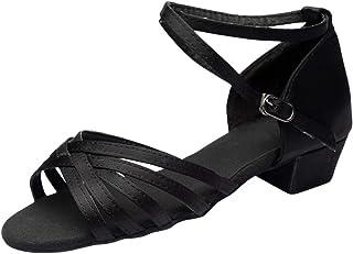 Manadlian Femmes Sandales de Danse Chaussures Rumba Valse Sandales de Plates Bal Salon Latine Chausson à Talons Plats Sals...