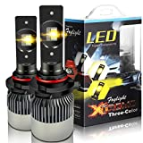 TURBO SII Extremely Bright 9005/HB3 High/Low Beam Led Headlight Bulbs Fog Lamp Tir-Color All-In-One Conversion kits,6000K Cool White 4300K Incandescent 3000K Yellow Halogen HID Xenon Bulbs Replacement