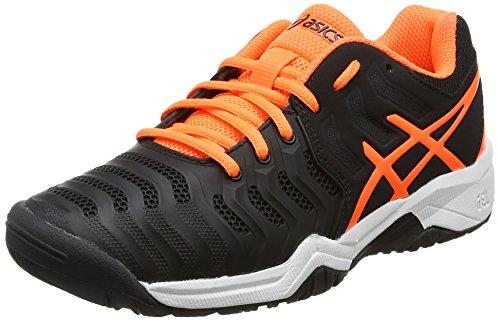 Asics Unisex Kids' Gel-Resolution 7 GS Tennis Shoes, Black (Black/Shocking Orange/White), 4 UK 37.5 EU