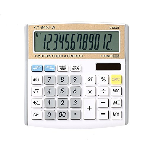 Electronic Desktop Calculator with 12-digit Large Display, Solar and Button Dattery Dual Power Standard 12-Digit Big Display Handheld Function Desktop Calculator (White Gold)