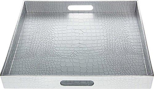 Fantastic Square Alligator Serving Tray with Matte Finish Design 1 Square Alligator Silver