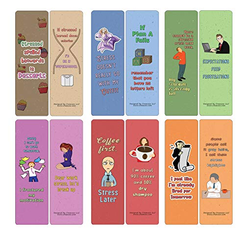 Creanoso Funny Stress Quotes Bookmarks (12-Pack) - Stocking Stuffers Premium Quality Gift Ideas for Children, Teens, & Adults - Corporate Giveaways & Party Favors