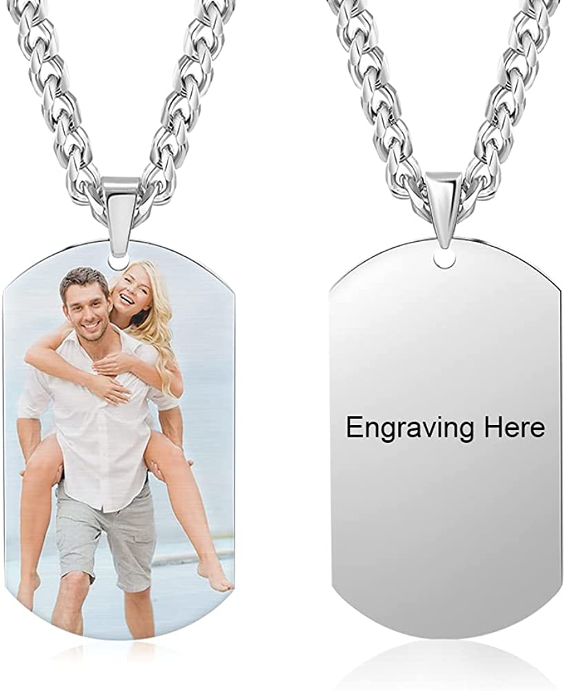 Infinimade Men Personalized Engraved Photo Necklace Stainless Steel Dog Tags Necklace Customized Text Name Pendant for Boyfriend Gift