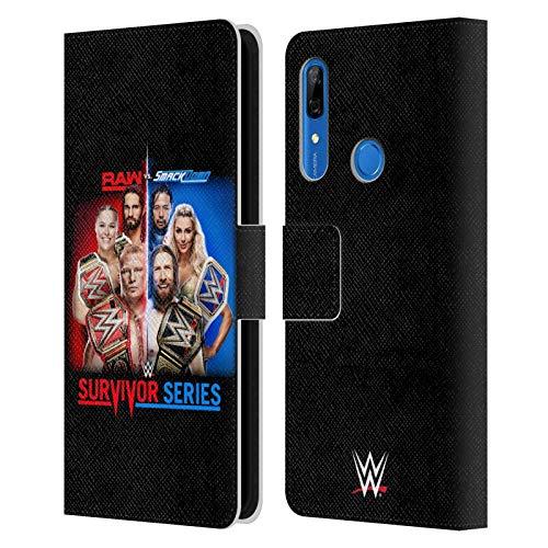 Head Case Designs Offizielle WWE Raw Versus Smackdown 2018 Survivor Serien Leder Brieftaschen Handyhülle Hülle Huelle kompatibel mit Huawei P Smart Z / Y9 Prime