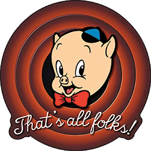 Looney Tunes Porky Pig, That's All Folks! Sticker - Officially Licensed Animated Series by Warner Bros. Sticker, 4' x 4'