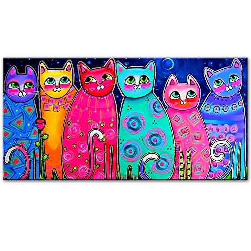 Modern Canvas Schilderij Kleurrijke Katten Olieverfschilderijen Voor Kinderkamer Muur Posters En Prints Pop Art Decoratieve Canvas Prints Foto Home Decor 50 * 75cm