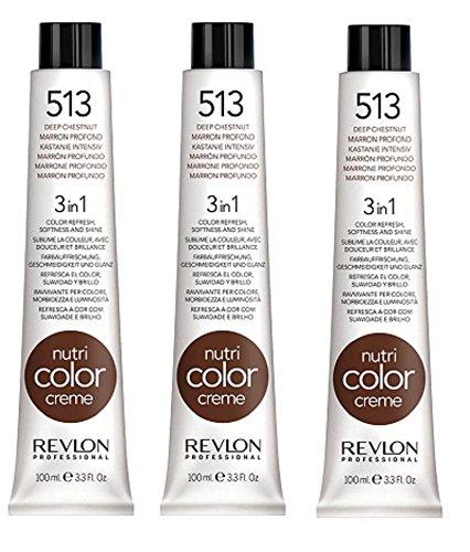 3er Set Revlon Nutri Color Creme Tube 100 ml 513-kastanie intensiv
