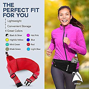 Athle Running Fanny Pack with Water Bottle Holder - Adjustable Run Belt Storage Pouch with Zipper Pocket for Sports and Travel – 360° Reflective Band – Fits iPhone Plus, Galaxy Note