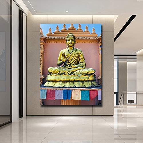 wopiaol Kein Rahmen Abstrakte Buddha Leinwand Ölgemälde Wandbild für Wohnzimmer Cuadros Buddha Dekoration Moderner Druck Ungerahmt