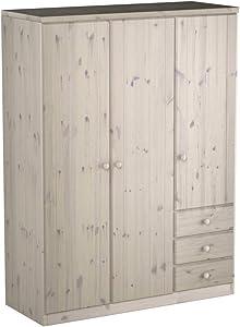 Steens Group Armoire Ribe à 3 Portes, pin Massif, 202 x 151 x 60 cm, Blanc,