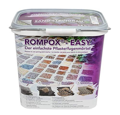 ROMPOX - EASY 1K Pflasterfugenmörtel 15 kg - Sand-Steingrau 1-komponentig für leichte Belastung - Grundlage für eine feste und saubere Pflasterfuge