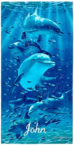 Kaufman Personalized Kids Twister Dolphins Beach and Pool Towel 30 x 60 Embroidered 106062 product image