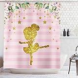 Ambsunny Ballerina Duschvorhang Floral Tutu Kleid Tanzen Streifen Glänzend Abstrakt Kleines Mädchen Kinder Ballett Artwork Stoff Badezimmer Dekor Set mit 12 Haken 152,4 x 180,9 cm, Pink Gold Weiß