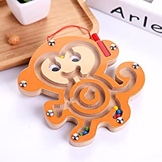 Baby Novelty Toy Wooden Children's Educational Toy Animal Track Magnetic Ball Maze (Monkey)