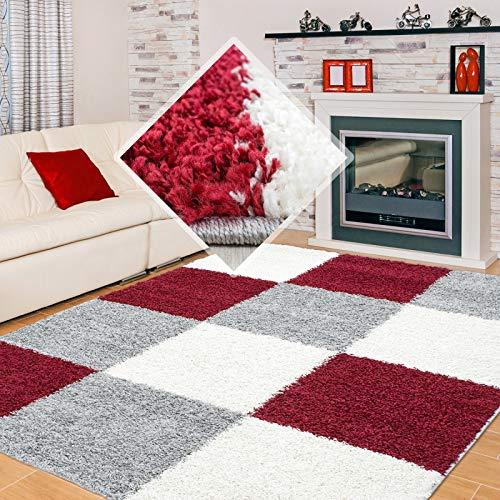 Carpet 1001 Shaggy, Pelo Largo Salón Shaggy Alfombra a Cuadros Rojo Blanco Gris - 160x230 cm