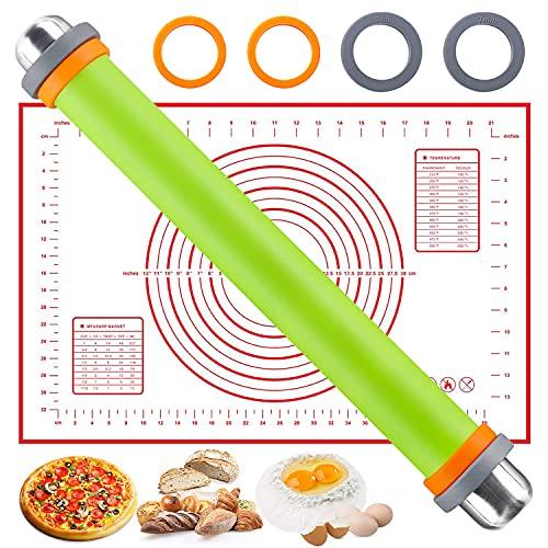 Desivel Teigroller - Nudelholz Silikon - Silikon Teigrolle mit Abstandshalter- Teigroller Silikon Edelstahl aus BPA-Freiem -Teigrolle mit Silikon Backmatte