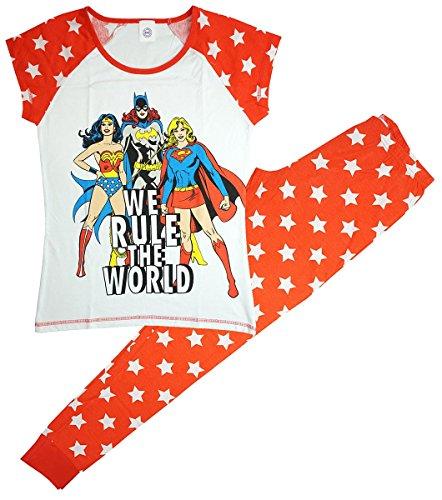 Damen Dc Originals Supergirl Wonder Woman Rule the World Schlafanzüge Größen von 8 to 22 - Mehrfarbig, Size 8-10