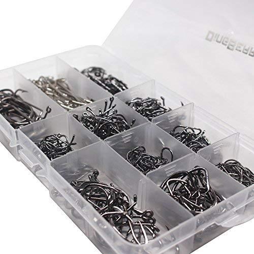 Dingbear Angelausrüstung Set mit Top Wasser Angeln Floats Würmer Jigs Tackle Box und mehr Fanggeräte Zubehör - für Salzwasser Süßwasser (Fishing Hooks Set)