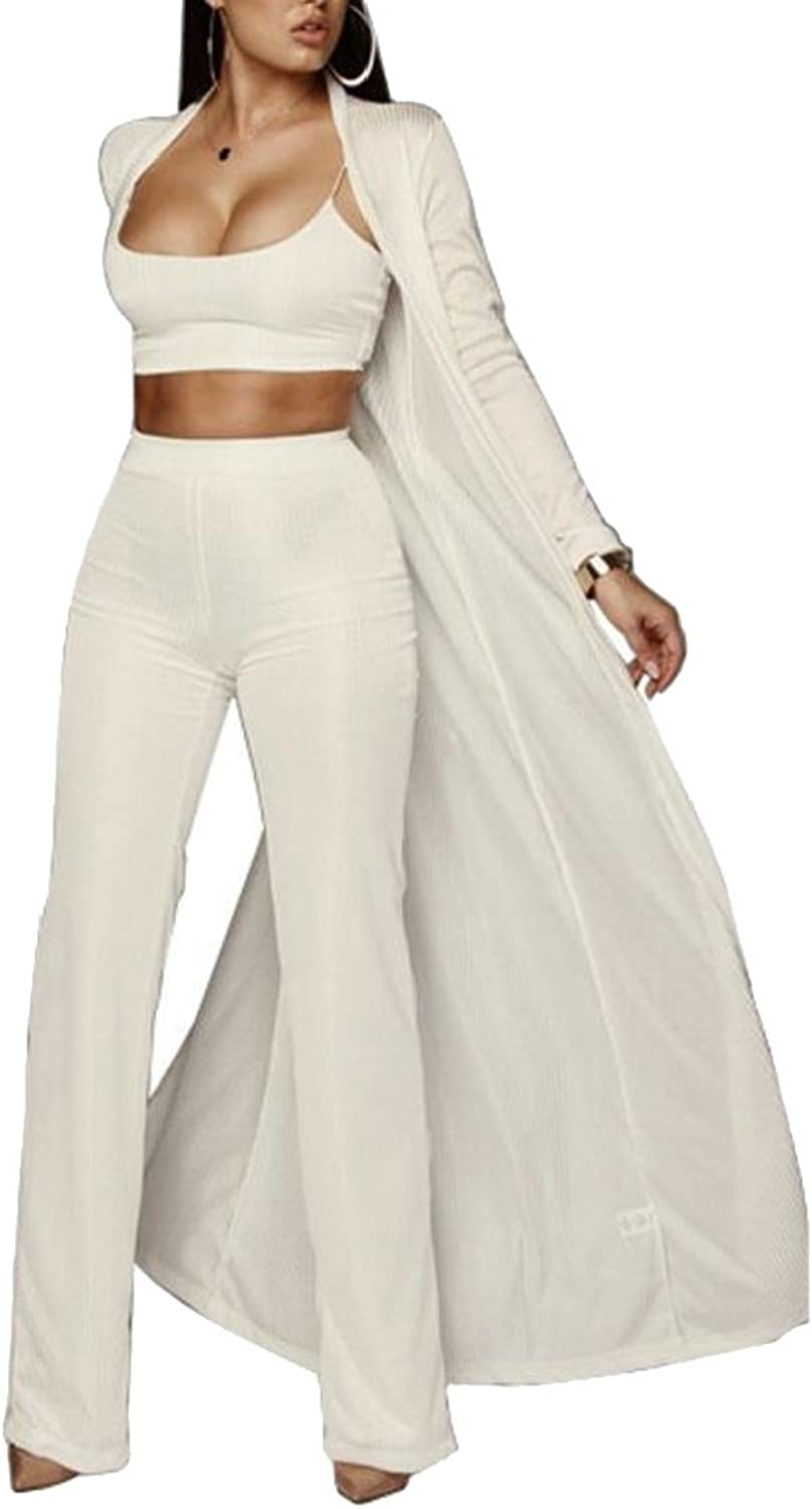 Alion Women's 3 Pieces Long Cardigan Tube & Wide Leg Pants Jumpsuit