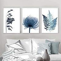 青い植物の葉のポスターミニマリスト北欧の花植物キャンバス絵画壁アート写真リビングルーム家の装飾壁画-40x60cm3pcsフレームなし