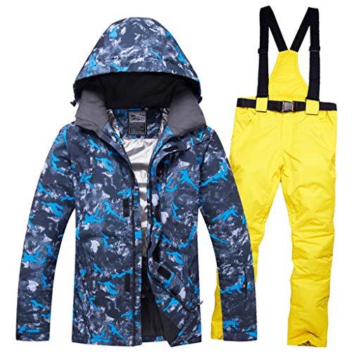 JXS-Outdoor Heren Waterdichte Ski Kleding - Winddicht Ski & Snowboard Jas En Bib Pant Suit, geel, XXXL