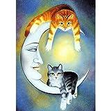 Kits de pintura de diamante para adultos, dos gatos en la luna con cara de niña DIY 5D redondo taladro arte perfecto para relajación y decoración de pared del hogar, 30 x 39,9 cm