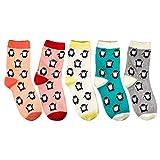 BUIDI 5 Pares de Calcetines de Mujer con Estampado de pingüino de Dibujos Animados Bonitos Calcetines de algodón para Mujer Calcetines de Mujer Color Mezclado