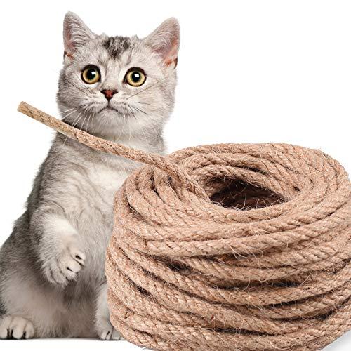 Hoiny Sisalseil, Natural Sisal Seil für Kratzbaum, Mehrzweckseil Sisal, Spielzeug für Katzen, Geeignet für Gartendekoration, Katzenbaum, Katzen Zubehör, Naturfaser, 15m, 6mm