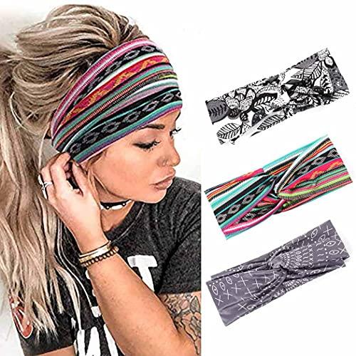 Zoestar Boho Criss Cross Fasce per capelli vintage a righe con fiore attorcigliato, elegante fascia elastica per capelli per donne e ragazze (confezione da 3)