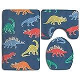 Dibujos animados dinosaurio 3 piezas suave baño alfombras set se seca rápidamente anti ácaros baño ducha estera en forma de U tapa inodoro piso