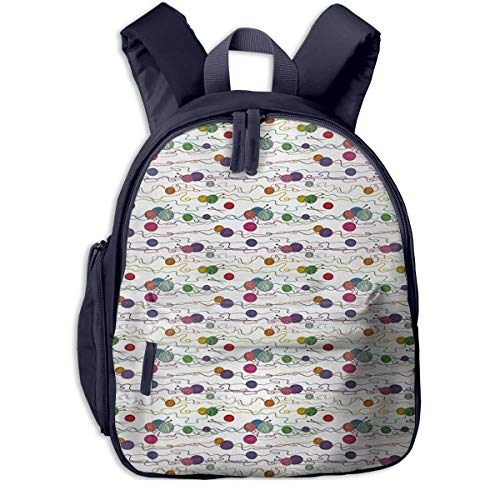 Kinderrucksack Bälle häkeln Handwerk Nadel Garn Babyrucksack Süßer Schultasche für Kinder 2-6 Jahre