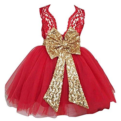 Minetom Bambine Senza Maniche Principessa Abiti Eleganti Bambina Partito Compleanno Comunione Swing Vestiti da Cerimonia 3-10 Anni Rosso 90