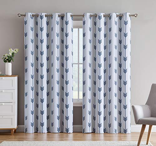 "HLC.ME Arrow Printed Privacy Blackout Energy Efficient Room Darkening Thermal Grommet Window Curtain Drape Panels for Kids Bedroom - Set of 2 - Platinum White/Navy Blue - 84"" inch Long"