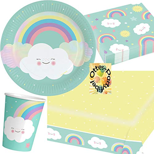 HHO Rainbow-Party-Set Regenbogen-Party-Set Sommer-Party 53tlg. für 16 Gäste 16 Teller 16 Becher 20 Servietten 1 Tischdecke