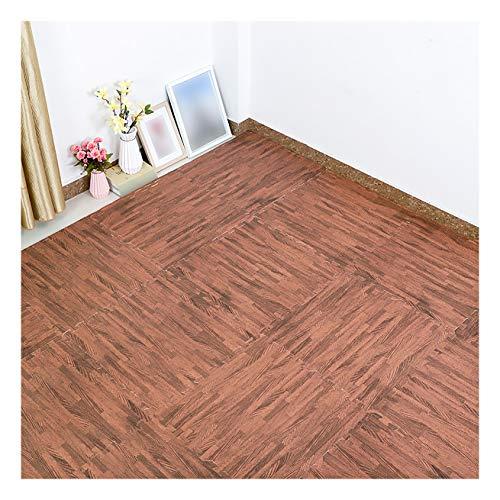 Azulejos entrelazados de espuma de grano de madera de espuma, enclavamiento diseño de madera aspecto de espuma piso de grano de madera oscuro 30 × 30 × 1 cm, 16 unidades