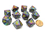 Pack of 10 Chessex Festive D10 Dice - Mosaic with Yellow Numbers