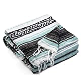 Authentic Mexican Blanket - Premium Yoga Blanket Beach Blanket - Well Made Picnic Blanket, Travel Blanket, Outdoor Blanket - Yoga Bolster (Mint Blue)