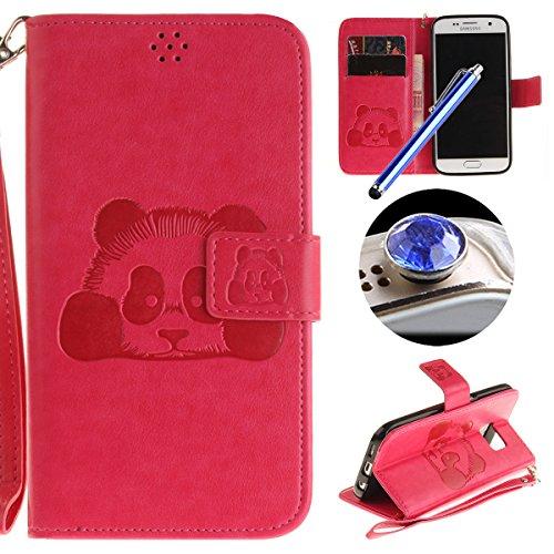 [ Samsung Galaxy S7 ] Cuir Coque,Samsung Galaxy S7 Housse de téléphone en Cuir, Etsue Retro Panda Motif Portefeuille en Cuir Flip Couverture de Case avec Lanière et Carte de Visite Dossier Fonction pour Samsung Galaxy S7 + Cadeaux Gratuit + 1 x Bleu stylet + 1 x Bling poussière plug (couleurs aléatoires)-Rose Red