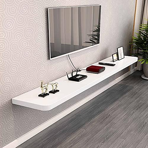 Mueble de TV Flotante,Mueble TV de Pared de madera maciza mate,estante de almacenamiento multimedia para sala de estar sala de entretenimiento oficina/Blanco / 60x23x3.2cm
