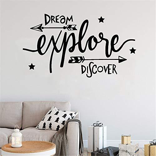 Nieuwe Product Planken Droom Verkenning Ontdekking Avontuur Kinderen Quote Muursticker Verwijderbare Vinyl Kwekerij Art Mural Home decoratie43cm X 45cm