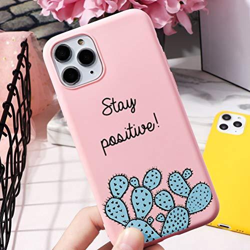 Pnakqil Cover iPhone 11, Ultrasottile Morbida Silicone Protettiva Colore Candy Rosa Impermeabile Antiurto Disegni San Valentino Regalo Custodia per iPhone 11,Cactus