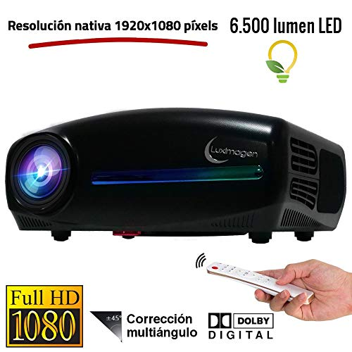 Luximagen FUHD200 (1920x1080) Proiettore Full HD 1080P 6.500 Lumen LED, Proiettore Massima Luminosità Portatile LED Home Cinema AC3 HDMI USB MKV Senza Input Lag Correzione Orizzontale (Nero)
