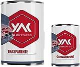 YAK Vernice Trasparente BICOMPONENTE 2K AntiGraffio Lt. 1,5 Auto Moto CARROZZERIA (1 lt Trasparente + 500 gr catalizzatore)