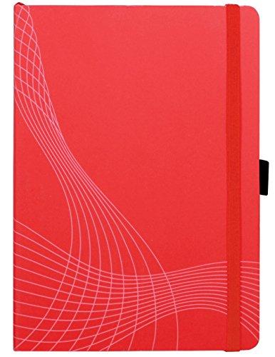 AVERY Zweckform 7039 Notizbuch notizio (A5, Softcover, gebunden, kariert, 90 g/m², 80 Seiten, Notizblock mit Innentasche, Stiftschlaufe, Verschlussband und Lesezeichenband) rot